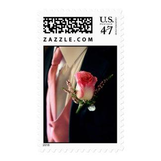 Pink rose black tuxedo tux postage stamps