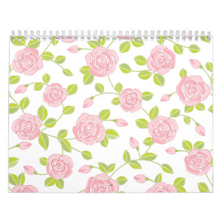 Pink Rose Bloom Classic Floral Pattern Girly Print Calendar