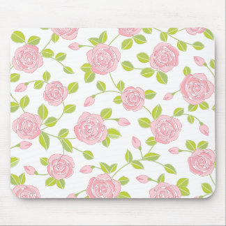 Pink Rose Bloom Classic Floral Pattern Girly Print Mouse Pad
