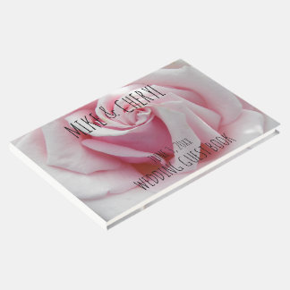 Pink Rose Bloom Personalized Wedding Guest Book