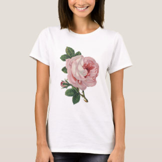 Pink Rose Blossom Bloom Vintage Art T-Shirt