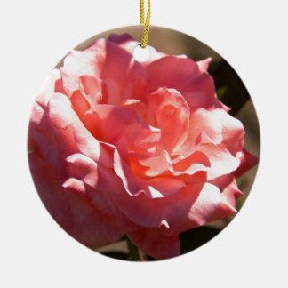 Pink Rose Blossom Ceramic Ornament