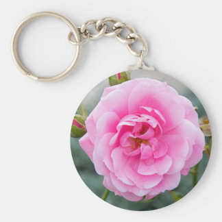 Pink rose blossom keychain
