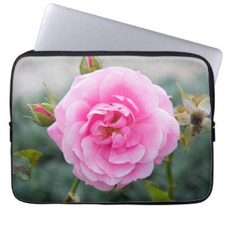 Pink rose blossom laptop computer sleeve