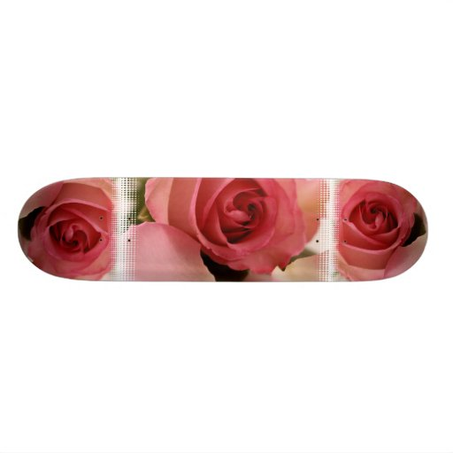 Pink Rose Blossom Skateboard