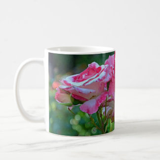 Pink rose blossoms coffee mug