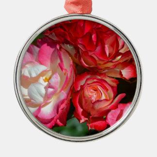 Pink rose blossoms metal ornament