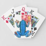 Pink Rose Blue Frog Flower Vintage Art Playing Cards