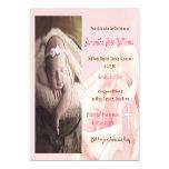 Pink rose blush Christening Magnetic Invitation