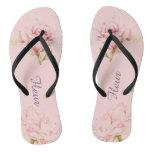 Pink rose blush flip flops