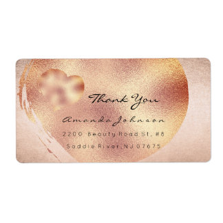 Pink Rose Blush Gold Blush Heart Thank You Label