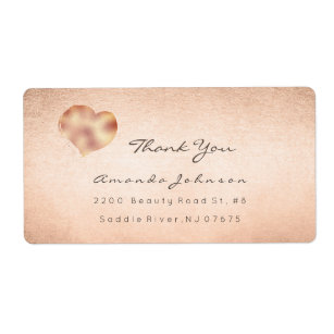 Pink Rose Blush Gold Painted Heart Thank You Label