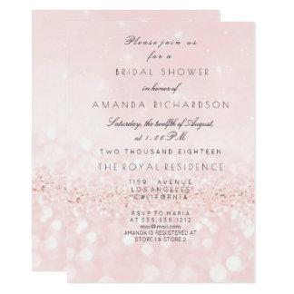 Pink Rose Blush Pastel  Glitter Bridal Shower Card