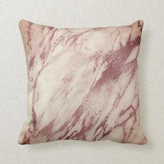 Pink Rose Blush Powder Creamy Glam Marble Copper Throw Pillow