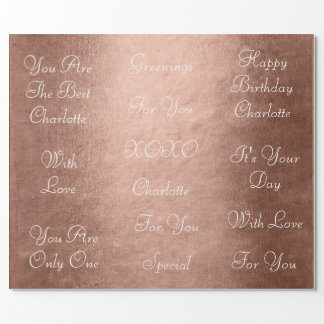 Pink Rose Blush White Chic Velvet Personalized Wrapping Paper