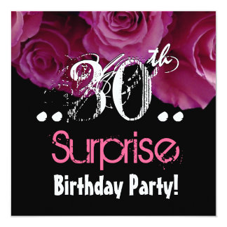 Pink Rose Bouquet 30th Surprise Birthday Template
