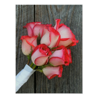 Pink Rose Bouquet & Barnwood Poster