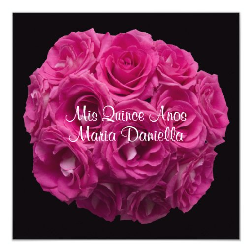 Pink Rose Bouquet Invitation for Quinceanera