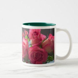 Pink Rose Bouquet Two-Tone Coffee Mug
