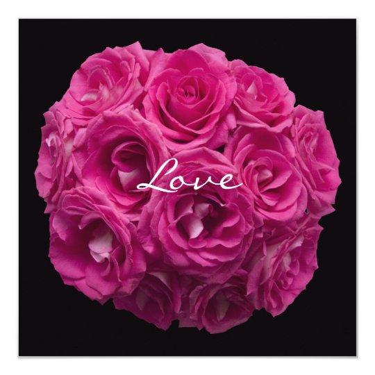 Pink Rose Bouquet on Black Vow Renewal Card