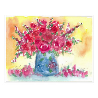 Pink Rose Bouquet Watercolor Painting Postcards