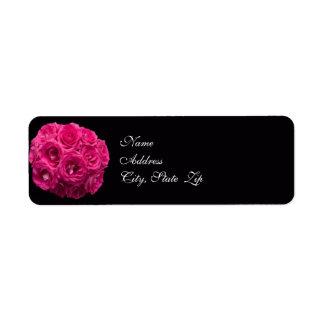 Pink Rose Bouquet Wedding Address Label