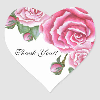 Pink Rose Bouquet Wedding Thank You Stickers