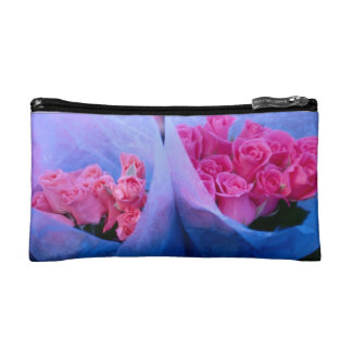 Pink Rose Bouquets and Butteflies. Makeup Bag