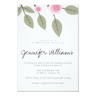 Pink rose bridal shower invitations