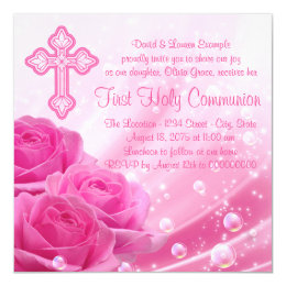 Pink Rose Bubbles First Communion Card