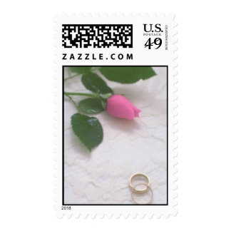 Pink Rose Bud and Wedding Bands Postage