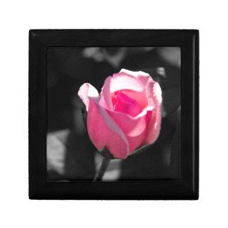 Pink Rose Bud BW Keepsake Box