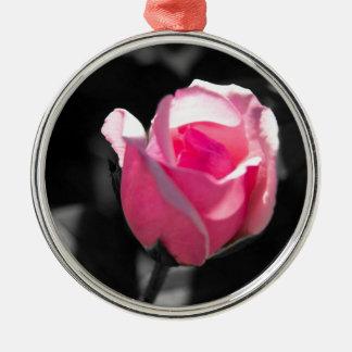 Pink Rose Bud BW Metal Ornament