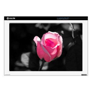 """Pink Rose Bud BW 17"""" Laptop Skins"""