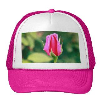 Pink rose bud mesh hat