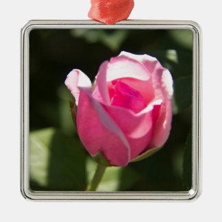 Pink Rose Bud Metal Ornament