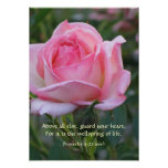 Pink Rose Bud ~ Proverbs 4:23 Posters