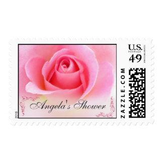 Pink Rose Bud Shower Postage Stamp