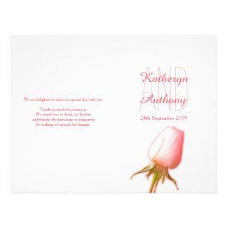 Pink rose bud wedding programme flyer
