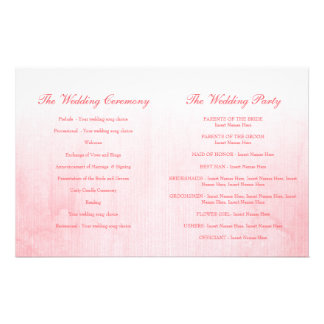 Pink rose bud wedding programme personalized flyer