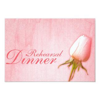 Pink rose bud wedding rehearsal dinner invite