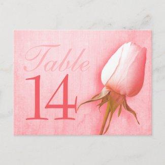 Pink rose bud wedding table number 10-39 postcard