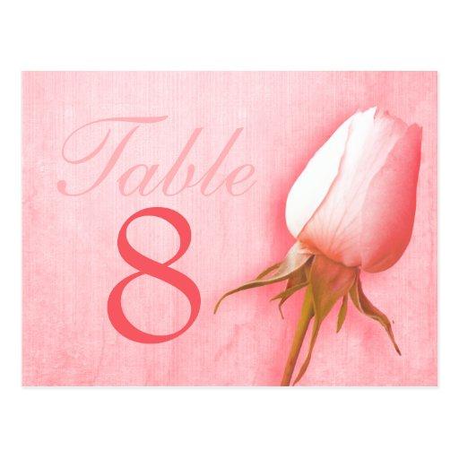 Pink rose bud wedding table number 1-9 postcard