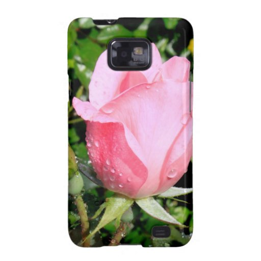 Pink Rose Bud with Water Drops Samsung Galaxy S2 Covers