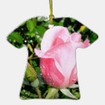 Pink Rose Bud with Water Drops Christmas Ornament