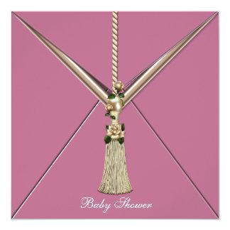 Pink Rose Buds Tassel Baby Girl Shower Invitations