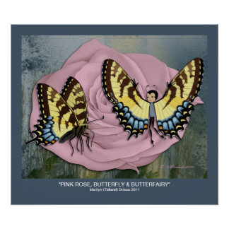 Pink Rose, Butterfly & Butterfairy Posters