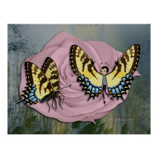 Pink Rose, Butterfly & Butterfairy Print