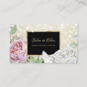 Pink Rose Butterfly Glitter Black and Gold Script Business Card