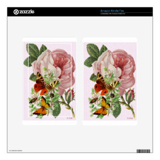 Pink Rose Butterfly Kindle Fire Decals